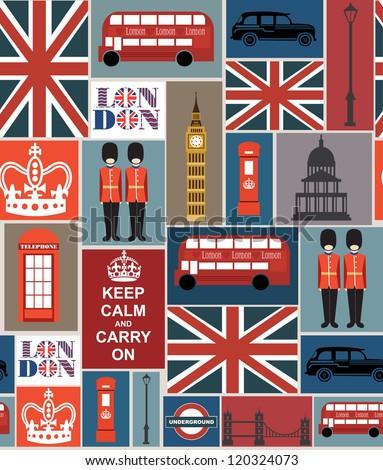 london seamless pattern design. vector illustration - stock vector