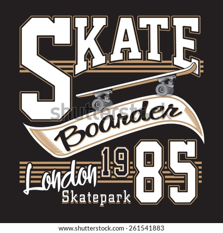 London skate board typography, t-shirt graphics, vectors - stock vector