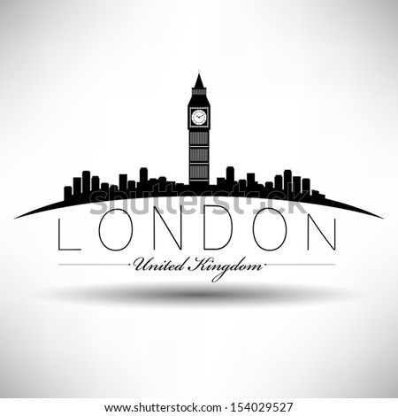 London Skyline Modern Typography - stock vector