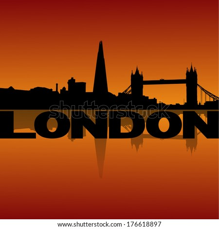 London skyline reflected at sunset vector illustration - stock vector
