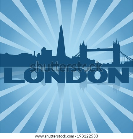 London skyline reflected with blue sunburst vector illustration - stock vector