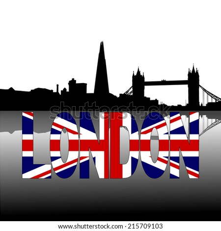 London skyline reflected with British flag text vector illustration - stock vector