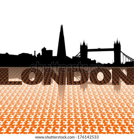 London skyline reflected with pound symbols vector illustration - stock vector