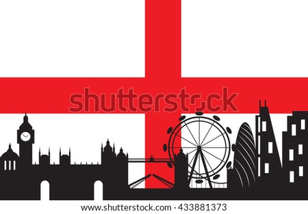 London skyline with England flag background,London city silhouette ,Vector illustration - stock vector
