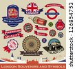 London Souvenirs and Symbols. Vector set of Sticker and Ribbon - stock vector
