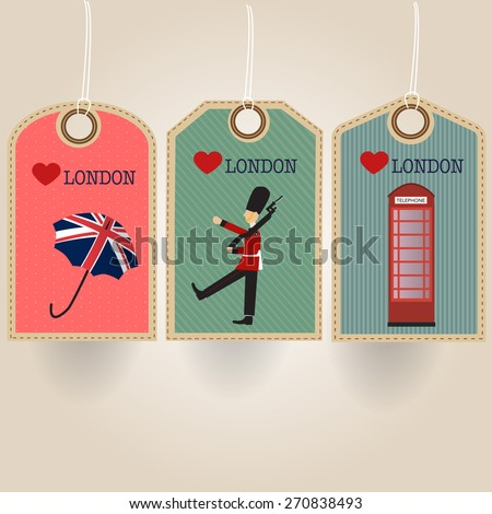 London tag with royal guard umbrella and telephone booth - stock vector