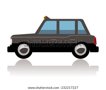 london taxi or black cab, funny cartoon style - stock vector