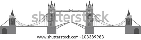 London Tower Bridge Illustration Isolated on White Background - stock vector