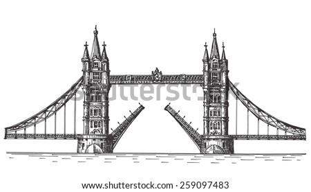 London vector logo design template. England or bascule bridge icon. - stock vector