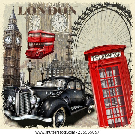 London vintage poster. - stock vector