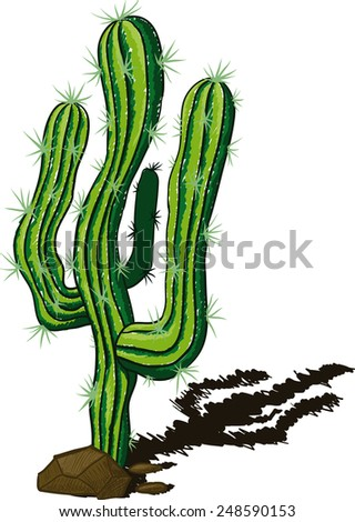 lone cactus among the rocks and rtbrasyvayuschy shadow drawn a sketch - stock vector