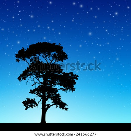 Lone Tree in Silhouette with Night Sky and Stars - Vector EPS 10 - stock vector