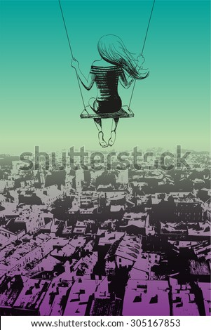 Lonely girl on swing against backdrop of city. Sketch. - stock vector