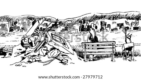 lonely girl over the view hand drawing - stock vector
