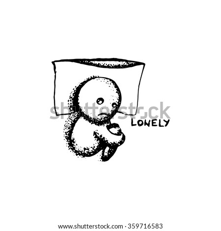 Lonely, hand drawn doodle  - stock vector