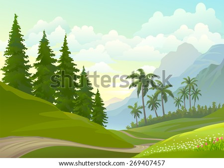 Lonely Pathway through grasslands - stock vector