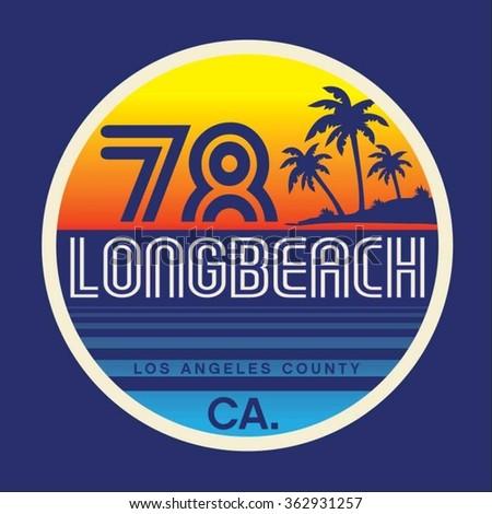 Long beach typography, t-shirt graphics, vectors, surf  - stock vector
