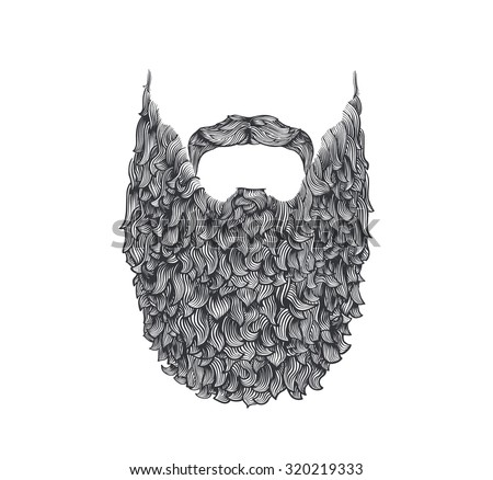 long beard, line art illustration, hand drawn - stock vector