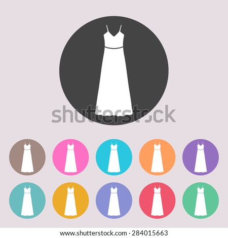 Long Dress, Evening dress or sundress with belt , the silhouette. Menu item in the web design. Set of colored icons. - stock vector