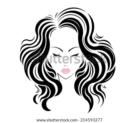 Long hair style icon, logo women face on white background. - stock vector