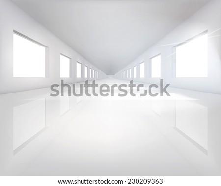 Long hall. Vector illustration. - stock vector