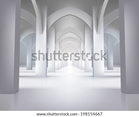 Long hallway. Vector illustration. - stock vector