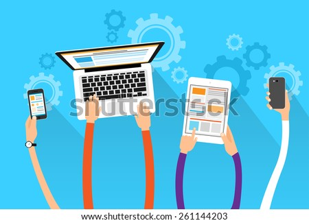 long hands hold device electronics gadget concept laptop phone tablet flat vector illustration - stock vector