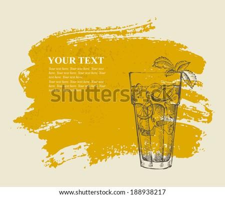 Long island iced tea cocktail on orange grunge background - stock vector