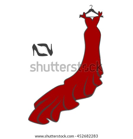 Long maxi dress icon. hand drawn style. Elegant red dress sketch on hanger with high heel shoes. vector illustration clothing. clothe's shopping symbol - stock vector