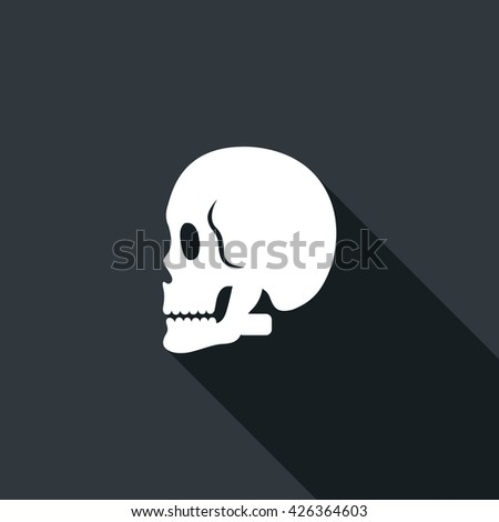 Long shadow icon with a skull. Vector illustration - stock vector