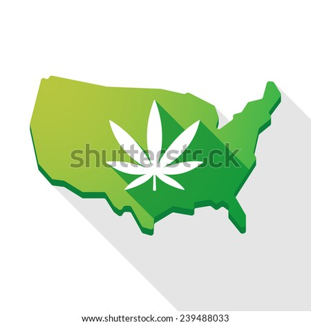 Long shadow USA map icon with a marijuana leaf - stock vector