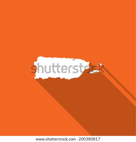 Long Shadow with the shape of the Country of Puerto Rico - stock vector