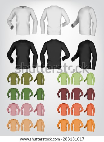 Long sleeve blank t-shirt template. Front, rear and side view. - stock vector
