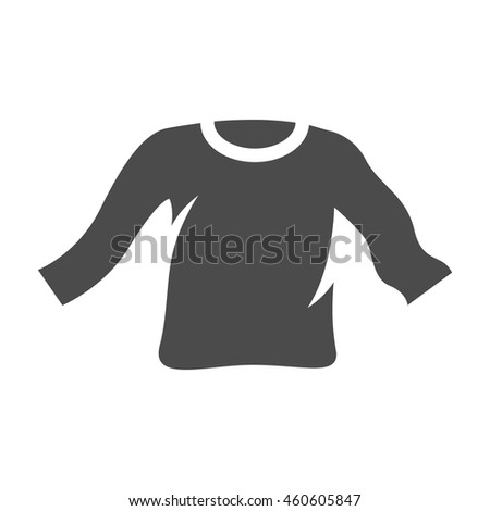 Long sleeve T-shirt icon in single grey color. Fashion laundry cleaning - stock vector