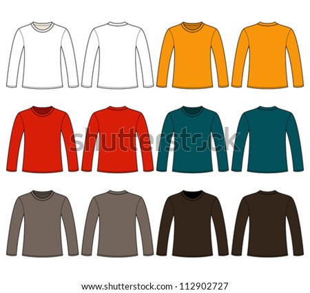 Long-sleeved T-shirt template - stock vector