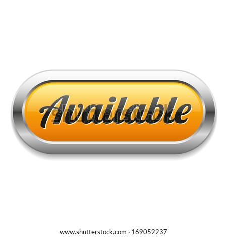 Long yellow available button - stock vector