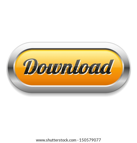 Long yellow download button - stock vector
