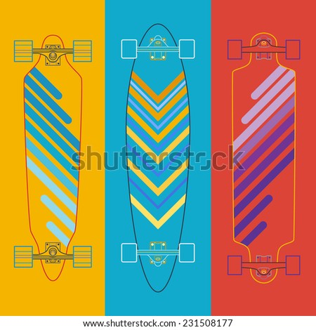 Longboard icon flat.Vector colorful illustration - stock vector