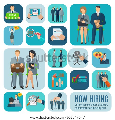 Looking for job and application online via recruitment agencies sites flat icons collection abstract isolated vector illustration - stock vector