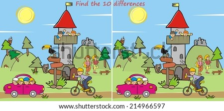lookout, find the ten differences - stock vector
