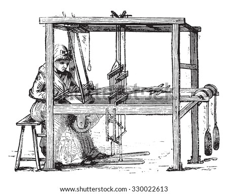 Loom, vintage engraved illustration. Magasin Pittoresque 1877. - stock vector