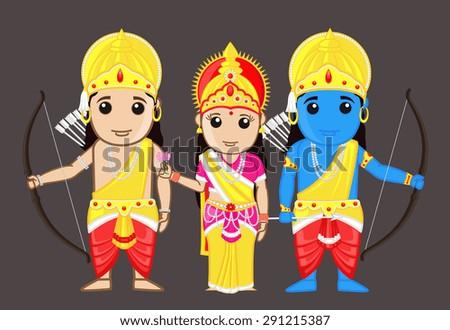 Lord Rama with Mata Sita and Brother Laxman - stock vector