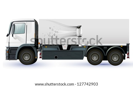 lorry or truck with glass bottel  to place your concept. - stock vector
