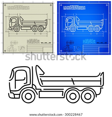 Lorry tipper dump truck modern outline stylized blueprint technical drawing - stock vector