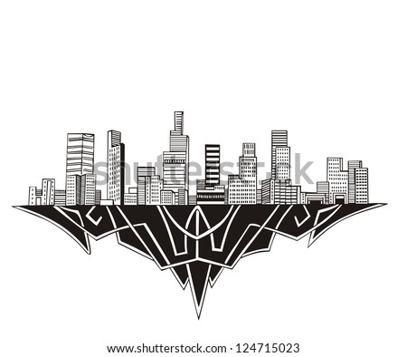 Los Angeles, CA Skyline. Black and white vector illustration EPS 8. - stock vector