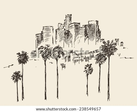 Los Angeles (California) skyline engraved style, hand drawn vector illustration - stock vector
