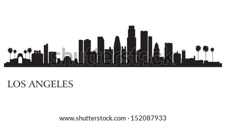 Los Angeles city skyline silhouette background. Vector illustration                             - stock vector
