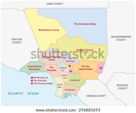 Los Angeles county regions map - stock vector