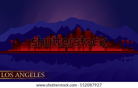Los Angeles night city skyline detailed silhouette. Vector illustration  - stock vector