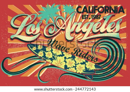 los angeles Set of Summer | Surfing Design | Tropical vector set |Hand drawing silhouette | T-shirt Printing | Badge Applique Label  - stock vector